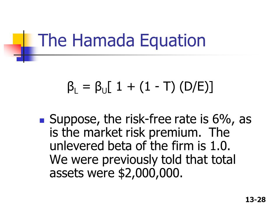The Hamada Equation βL = βU[ 1 + (1 - T) (D/E)]